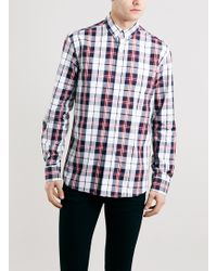 Topman Selected Homme Navy And Red Check Shirt - Lyst
