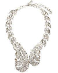 Oscar de la Renta Pave Crystal Feather Necklace - Lyst