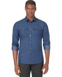 Calvin Klein Slim Fit Slub Twill Roll Sleeve Sport Shirt - Lyst
