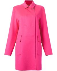 Versace | Off-Centre Fastening Coat | Lyst