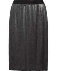 Enza Costa Metallic Pleated Satin Skirt - Lyst