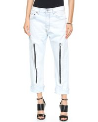 McQ by Alexander McQueen Zipped Boyfriend Jeans - Acid Wash - Lyst