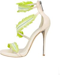 Oscar de la Renta Leather Aliah Feather Sandals - Lyst
