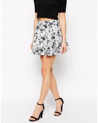 Girls On Film - Rose Print Skirt - Lyst