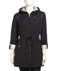 Laundry By Shelli Segal Packable Highlow Snapdetailed Hooded Anorak Jacket Black - Lyst