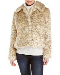 Eliza J Faux Fur Leopard Print Jacket - Lyst