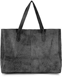 Topshop Snake Effect Suede Tote black - Lyst