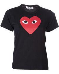 Comme Des Garçons Black Red Heart Tshirt - Lyst
