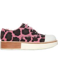 Mobi | 30mm Canvas Cow Print Lace-up Shoes | Lyst