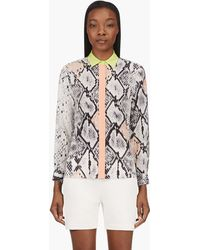 MSGM Peach and Grey Silk Snakeskin Blouse - Lyst