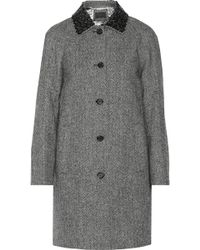 J.Crew Collection Embellished Herringbone Wool Coat - Lyst