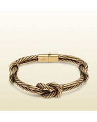 Gucci Gold Finished Sterling Silver Knot Bracelet - Lyst