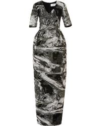 Prabal Gurung Metallic Jacquard V-Neck Gown black - Lyst
