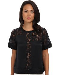 Rebecca Taylor Short Sleeve Silk Lace Inset Top - Lyst