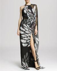 Halston Heritage Gown - Asymmetric Chiffon Overlay - Lyst
