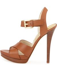 MICHAEL Michael Kors Oksana Leather Heeled Sandals - Lyst