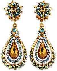 Jose & Maria Barrera Green Iridescent Crystal Clip-On Earrings - Lyst