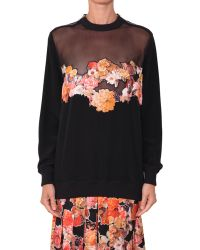 Givenchy Silk Chiffon Sweatshirt With Embroidery And Zipper - Lyst