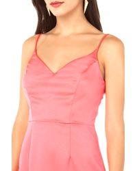 Akira Sleek Satin Dress in Neon Pink - Lyst
