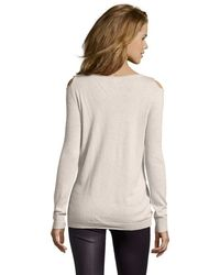 Jamison - Oatmeal 'cold Shoulder' Cutout Sweater - Lyst