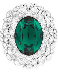 Swarovski Rhodium-plated Green Crystal Brooch - Lyst