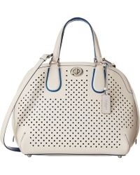 Coach Perforated Leather Prince Street Satchel white - Lyst