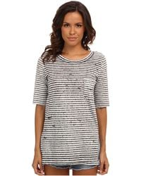 Free People Shredded Striped Tee - Lyst