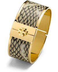 Tory Burch Skinny Snake-Print Leather Inlay Bracelet beige - Lyst