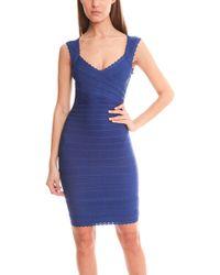 Hervé Léger Amelia Knit Dress blue - Lyst