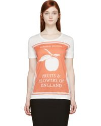 Burberry Prorsum Off_White Fruits And Flowers Of England T_Shirt - Lyst