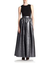 Aidan Mattox - Metallic-Skirt Jersey Gown - Lyst