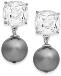 Kate Spade New York Silver-tone Glass Stone and Faux Pearl Drop Earrings - Lyst
