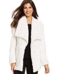 Karen Kane Faux Fur Open Front Coat - Lyst