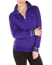 Puma Purple Sweat Jacket - Lyst