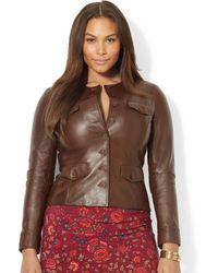 Lauren by Ralph Lauren Plus Size Buttonfront Leather Jacket - Lyst