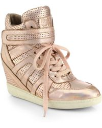 Ash Beck Metallic Leather Wedge Sneakers - Lyst
