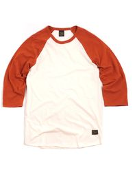 Obey Old Timey Slub Raglan Tshirt Natural Red - Lyst