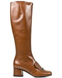 Gucci Leather Knee Boot - Lyst
