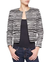 Alice + Olivia Kidman Metallic Tweed Striped Jacket - Lyst