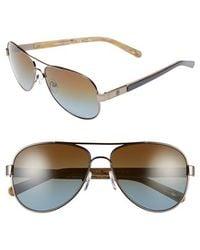 Tory Burch 57Mm Polarized Aviator Sunglasses - Gunmetal/ Blue Gradient/ Polar - Lyst