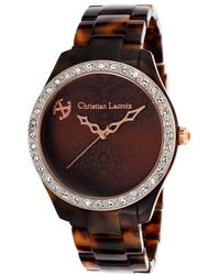 Christian Lacroix - Women's Tortoise Acetate Brown Dial Crystal Accents - Lyst