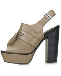 Topshop Womens Sassy Platform Shoes  Taupe - Lyst