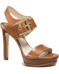 Michael Kors Becca Leather Platform Sandal - Lyst