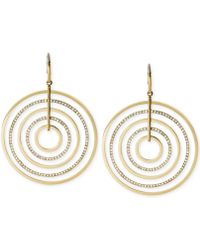 Michael Kors Gold-Tone Clear Crystal Large Circle Drop Earrings - Lyst