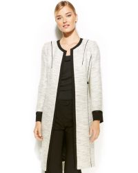 Calvin Klein Collarless Tweed Piped Long Jacket - Lyst