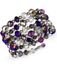 Style & Co. - Silvertone Mixed Metallic Bead Coil Bracelet - Lyst