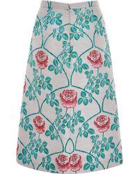 Honor Magenta Rose Trellis Jacquard Straight Skirt - Lyst