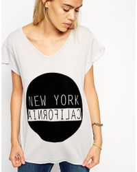 Asos T-Shirt With V Neck And New York California Print - Lyst