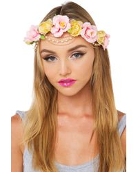 AKIRA - Fluer Del Rey Pink Yellow Floral Headpiece - Lyst