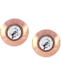 Vince Camuto - Rose Gold-tone Crystal Round Stud Earrings - Lyst